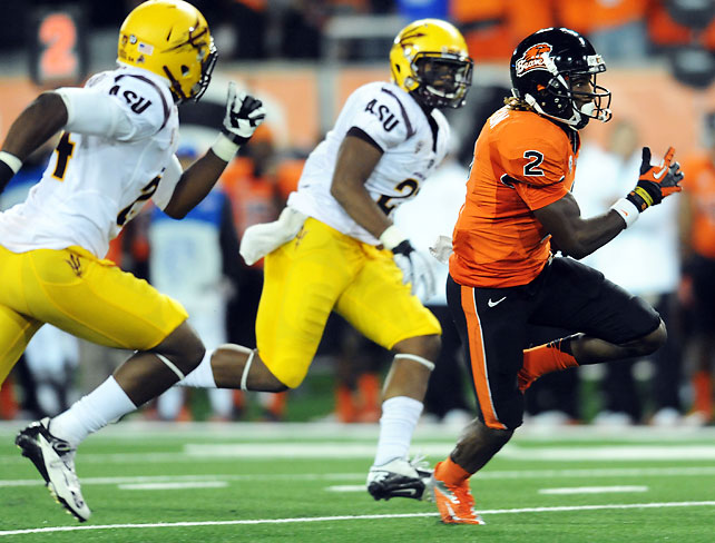 Markus Wheaton (pictured) and Oregon State bounced back from their first loss of the season to topple conference foe Arizona State and stay alive in the Pac-12 North race. Cody Vaz recovered at quarterback, throwing for 267 yards and three touchdowns. The Beavers must face Stanford and Cal before what could be a decisive Civil War meeting with archrival Oregon.