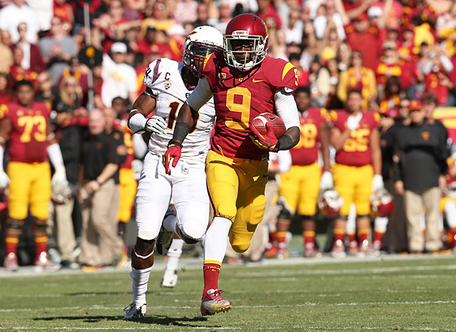 USC's Marqise Lee (pictured) is enjoying a season for the record books. Though the Trojans haven't lived up to their preseason No. 1 billing, the sophomore wideout has wildly exceeded expectations. Lee upped his 2012 total to 1,464 receiving yards with a 178-yard, one-touchdown performance against Arizona State, and USC cruised to a pivotal Week 11 win. Quarterback Matt Barkley finished with 242 passing yards and three touchdowns, and running back Curtis McNeal tallied 31 carries for 159 yards and two scores.