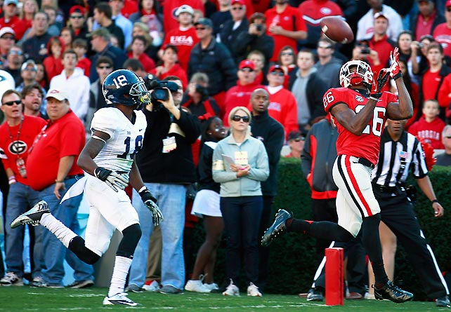 Georgia Southern kept it close early, but Georgia eventually ran away with it to improve to 10-1 overall. Five different Bulldogs, including Malcolm Mitchell (pictured), caught touchdown passes. Georgia also recovered two fumbles.