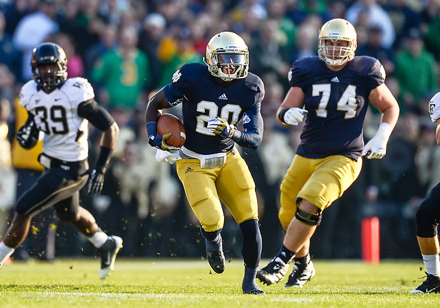 Notre Dame will face USC on rivalry weekend with an undefeated regular season and possible national championship game berth on the line. The Fighting Irish took care of business at home on senior day, shutting out visiting Wake Forest. Cierre Wood (pictured) rushed for 150 yards, including a 68-yard touchdown, on 11 carries.