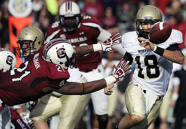 South Carolina struggled to separate from Wofford for much of the game, and the teams entered the fourth quarter tied at 7-7. But linebacker DeVonte Holloman (pictured) and the rest of the South Carolina defense rallied with star Jadeveon Clowney out injured, limiting Wofford to 71 passing yards.