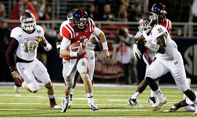 Hugh Freeze's first regular season as Ole Miss coach couldn't have wrapped much better. The Rebels won the Egg Bowl for the first time since 2008, finishing 6-6 overall and 3-5 in the SEC in the process. Quarterback Bo Wallace (pictured) had a big day for Ole Miss, passing for 294 yards and five touchdowns.