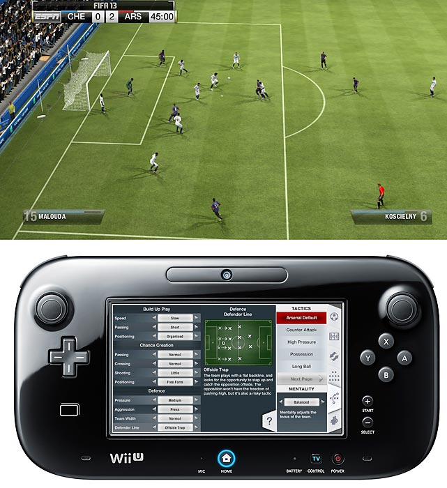 Like this year's Madden on the Xbox 360 and PS3,   FIFA 13   was a great iteration of EA's annual franchise. But also like Madden on Wii U, FIFA is missing several features that elevated the game, including the Player Impact Engine, tactical defending and precision dribbling. Once again, the visuals don't seem as polished as the previous releases of FIFA 13.   FIFA 13 attempts to take advantage of the Wii U by using the GamePad for on-the-fly-functionality. While a game is going on you can use the GamePad to mark players on defense, change formations, and to make passes. However, taking your eyes of the TV while possessing the ball is almost always fatal.  Similarly, when shooting on goal you can use the GamePad to aim to a specific spot on the net, but it's also very distracting and counter intuitive to look away. FIFA 13 works in detach mode as well.   We're hopeful EA can do more with the GamePad when it has a full cycle of development.   Score: 7 out of 10
