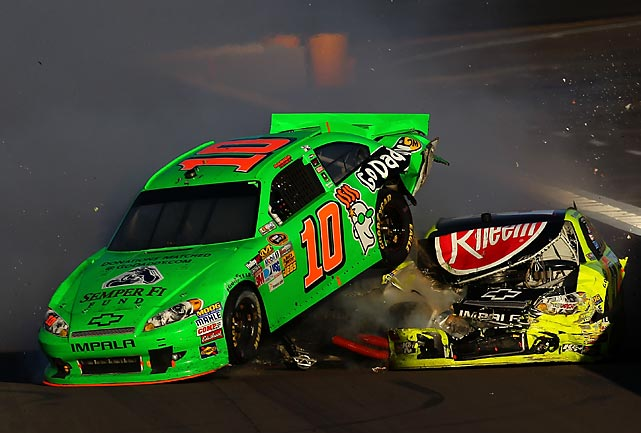 Danica Patrick, driver of the #10 GoDaddy.com Chevrolet, and Paul Menard were caught up in a late-race accident during NASCAR's race at Phoenix.