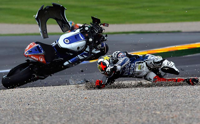 MotoGP world champion Jorge Lorenzo crashes at the Motorcycle Grand Prix  in Cheste near Valencia, Spain, on Nov. 11.