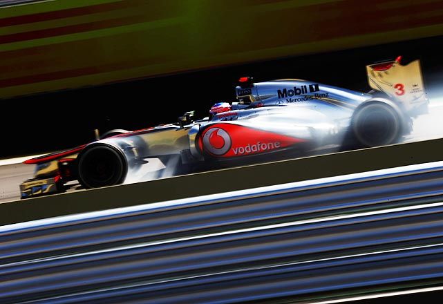 British driver Jenson Button competes in the Brazilian Formula One Grand Prix in Sao Paulo.