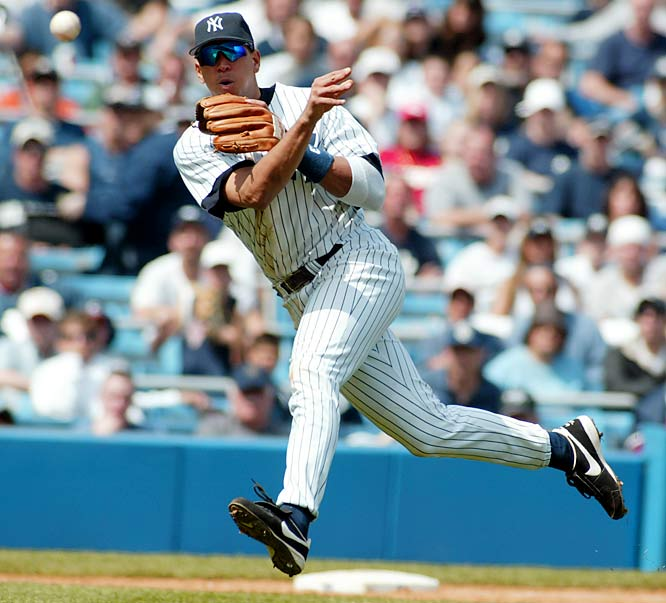 <italics>Details: The Rangers traded Alex Rodriguez to the Yankees for Alfonso Soriano and a Player to Be Named Later.</italics> The Red Sox were initially linked to Rodriguez, but the big winner turned out to be the Yankees, who assumed Rodriguez's massive contract that he signed in 2001 with the hapless Rangers. Rodriguez became a polarizing and controversial figure in New York, but he did win two MVPs and anchor the Yankees in their 2009 World Series title run.