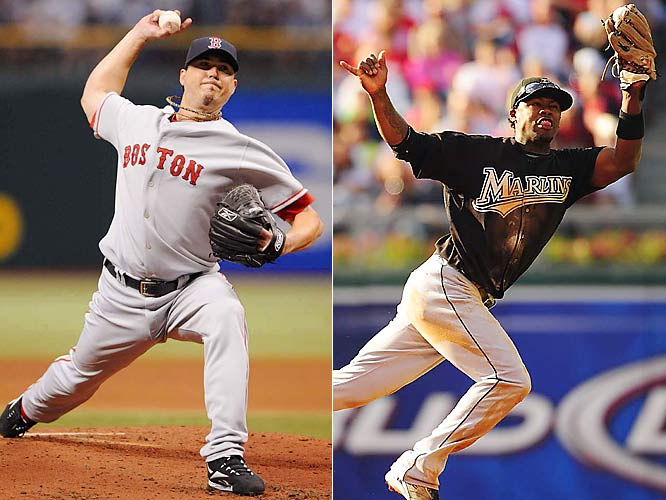 <italics>Details: </italics><italics>Josh Beckett, Mike Lowell and Guillermo Mota to the Red Sox from the Marlins for Hanley Ramirez, Anibal Sanchez, Jesus Delgado and Harvey Garcia.</italics> The Red Sox took advantage of one of the Marlins' many salary sell-offs by acquiring Beckett, the MVP of the 2003 World Series. Beckett went 89-58 in Boston and was the MVP of the 2007 ALCS. The World Series MVP that year was Lowell. Florida's haul included Ramirez, who won the 2009 batting title and was one of the game's best players for a few years, and Sanchez, who threw a no-hitter as a Marlin in '06, when he went 10-3.