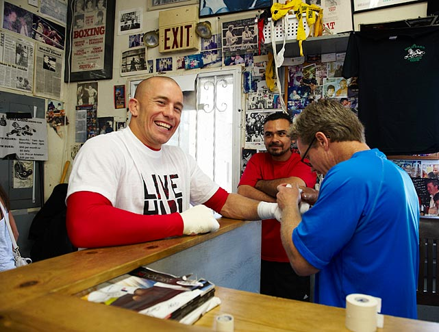 UFC welterweight champion Georges St-Pierre photographed during a training session with Freddie Roach at the Wild Card Gym on May 22, 2010 in Los Angeles, Calif.