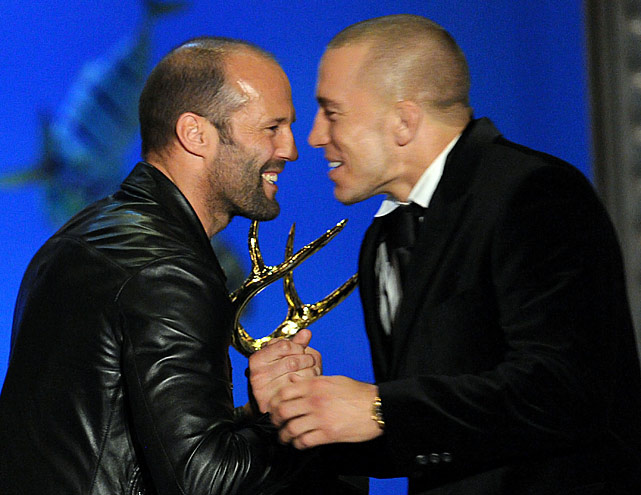 Actor Jason Statham and UFC welterweight champion Georges St-Pierre onstage during Spike TV's 4th Annual  Guys Choice Awards  held at Sony Studios on June 5, 2010 in Los Angeles, Calif.