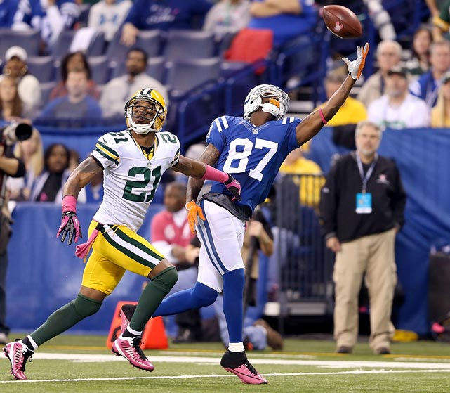 Wide receiver Reggie Wayne totaled 212 receiving yards on 13 catches, including a touchdown with 35 seconds remaining, and the Colts, who finished with a 2-14 record the previous season, knocked off the visiting Packers, tops in the league in 2011 at 15-1. Down 21-3 at the half, Indianapolis scored 19 unanswered points before eventually overcoming a five-point hole in the waning seconds of the game for their biggest win of the season.