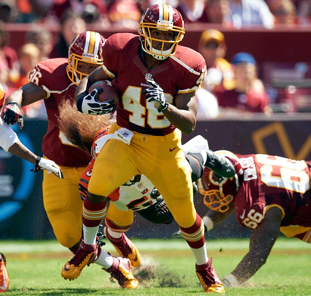 The man to decisively emerge as the lead horse from the Redskins' typical running back by committee under coach Mike Shanahan, Alfred Morris has been a key component in an upstart Washington offense that ranks near the league's best, totaling more than 25 points per game.The rookie sixth-round pick out of Florida Atlantic has five touchdowns to go along with averaging 4.8 yards per carry in keeping opposing defenses honest against quarterback Robert Griffin III.