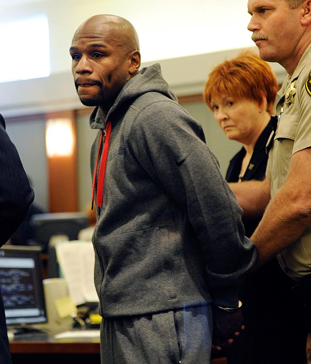 "Still playing well with others, the jolly boxer's eventful year included a two-month stretch in the slammer on a domestic battery rap, an alleged verbal altercation with a woman in Las Vegas that jeopardized his one-year probation, forking over $114,000 to Manny Pacquiao in a defamation lawsuit after claiming that Pacquiao used performance-enhancing drugs, plus a falling out and Twitter war with rapper 50 Cent, with whom Mayweather had formed the short-lived TMT Promotions (""The Money Team"")."