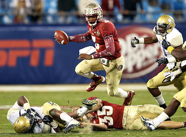 It was closer than many expected, but Florida State eventually outlasted Georgia Tech to claim the ACC's AQ berth in this year's BCS. EJ Manuel (pictured) completed 16-of-21 attempts for 134 yards, and James Wilder Jr. paced the ground game with 10 carries for 69 yards and a touchdown. The 'Noles clinched the win after sophomore defensive back Karlos Williams intercepted Yellow Jackets quarterback Tevin Washington with 1:10 remaining in the fourth quarter.