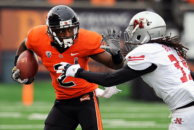 One week after losing the Civil War against Oregon, the Beavers came out firing at home against Nicholls State. Oregon State racked up 683 yards of total offense in a rout of the overmatched Colonels. Sean Mannion and Cody Vaz combined for five touchdown passes, while wideout Markus Wheaton (pictured) made 12 catches for 123 yards and a score. After posting a meager 3-9 in 2011, Mike Riley's squad finishes the 2012 regular season with an impressive 9-3 mark.