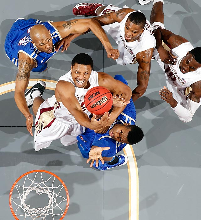 Terrance Shannon of Florida State comes down with the rebound against Tulsa on December 29. The Seminoles won by a 19-point margin.