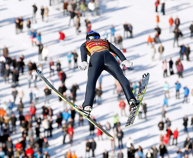 Austria's Gregor Schlierenzauer soars through the air during a trial jump at the Four Hills ski jumping tournament in Garmisch-Partenkirchen, Germany.
