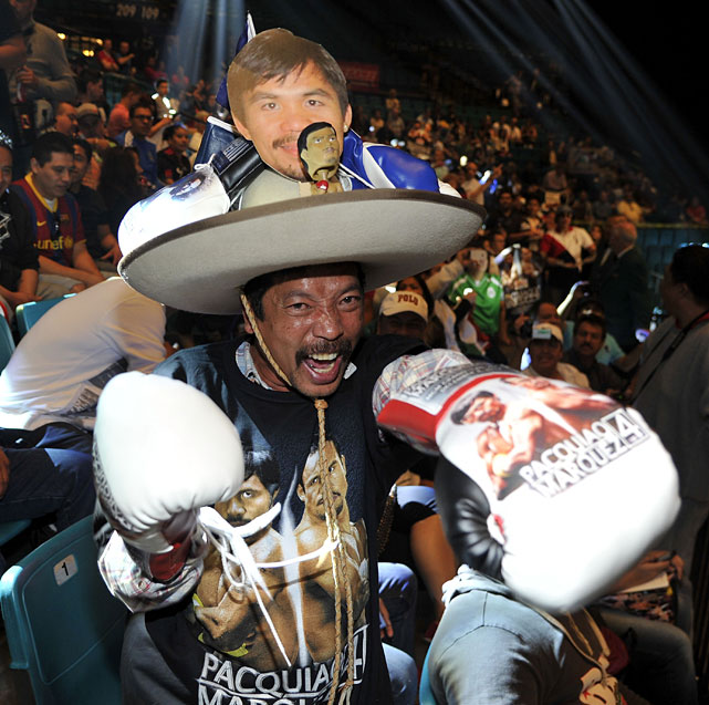 Roland Torres of Nevada, who supports Pacquiao, showed up in style at Friday's weigh-ins.