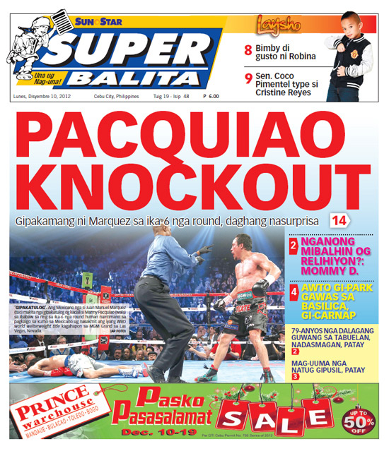 Here's a look at how Juan Manuel Marquez's stunning knockout of Manny Pacquiao was presented on the front pages of Sunday's and Monday's first editions in the Philippines, Mexico and elsewhere.