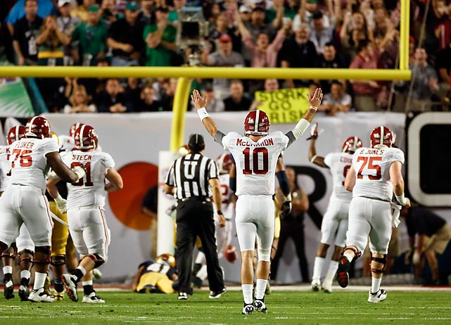 Quarterback AJ McCarron puts his arms in the air after connecting with Williams for a score midway through the first quarter.