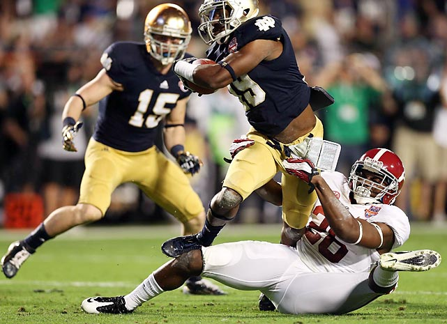 Notre Dame struggled to move the ball against 'Bama's vaunted defense, failing to score its first touchdown until late in the third quarter.