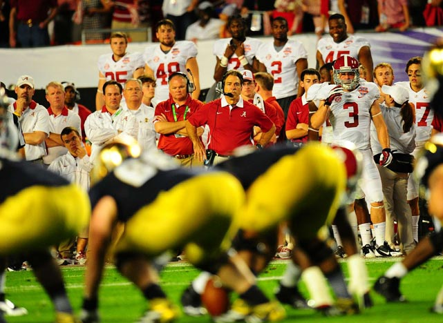 Nick Saban watches from the sideline as his Crimson Tide continue to dominate the Fighting Irish.