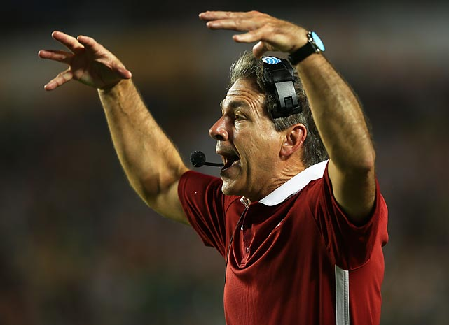Alabama head coach Nick Saban shouts to his players during the BCS National Championship Game against Notre Dame.