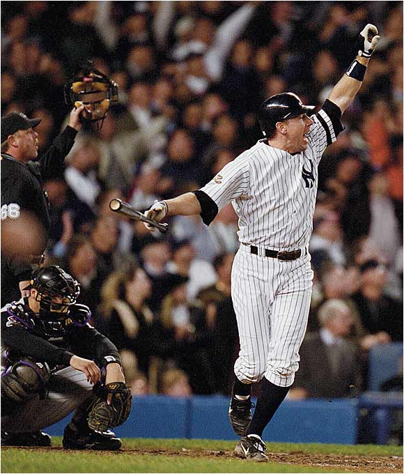 D'backs reliever Byung-Hyun Kim blew his second save in less than 24 hours as Scott Brosius drew the Yankees even at 2-2 in the bottom of the ninth in Game 5 of the World Series. New York went on to win 3-2 in the 12th, but Arizona won the Series in seven games.