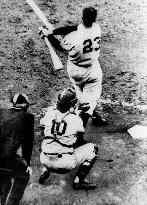 """THE GIANTS WIN THE PENNANT!"" New York's Bobby Thomson took Dodgers pitcher Ralph Branca deep to clinch the NL pennant at the Polo Grounds."