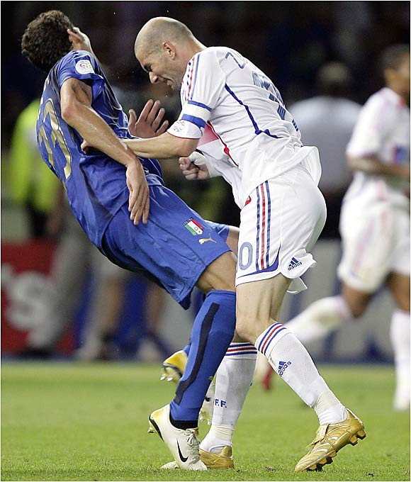 The French legend and Marco Materazzi exchanged words throughout the match, but then Zidane casually jogged in front of the Italian defender and unleashed the Headbutt Heard 'Round the World. After launching his skull into Materazzi's chest, knocking the Italian to the ground, Zidane -- who was also playing in his final game -- received a red card in the waning minutes of the second overtime. The Azzurri went on to win 5-3 on penalty kicks.