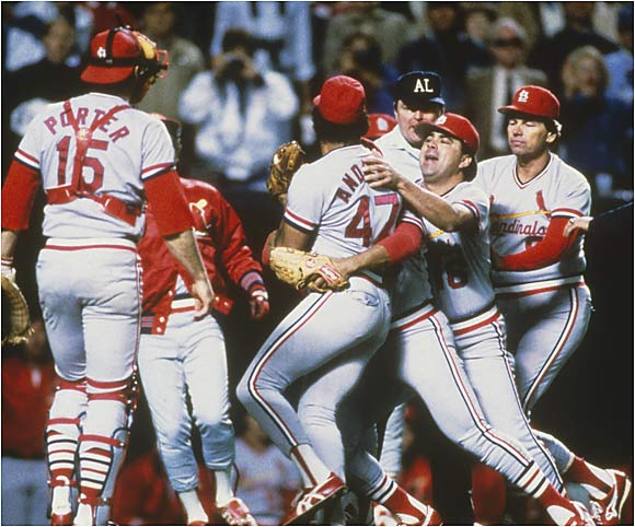 In Game 7 against the Royals, the Cardinals' 20-game winner was called in to relieve ace John Tudor, who had allowed five runs in 2 1/3 innings. Andujar promptly gave up a hit and a walk before being ejected for arguing balls and strikes, along with manager Whitey Herzog. The Royals went on to win 11-0.