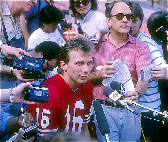 "To 49ers QB Joe Montana: ""So why do they call you Boomer?"""