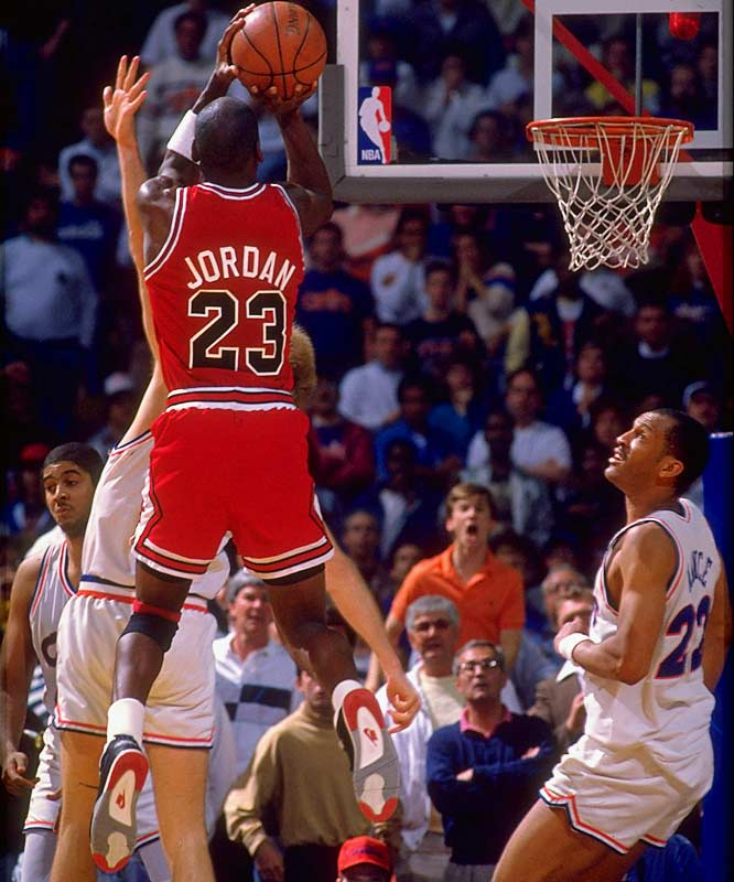 """Known in Cleveland as """"The Shot,"""" Michael Jordan's jumper over Craig Ehlo sealed Jordan's reputation as a clutch playoff performer and gave the Bulls a 101-100 win and unlikely series victory. Jordan would eventually claim six championships with Chicago, but this was only his second career playoff triumph."""