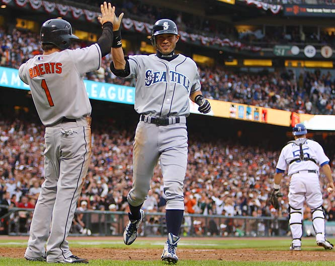 MVP Ichiro Suzuki's drive off the right-field wall at quirky AT&T Park bounced away from Ken Griffey Jr. for the first inside-the-park home run in All-Star game history. His two-run homer off Chris Young in the fifth inning put the AL ahead and the Americans held on for a 5-4 victory.