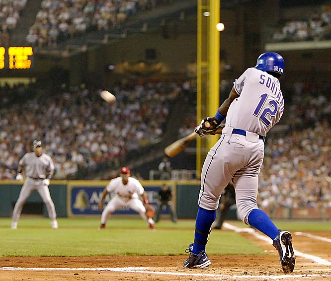 AL second baseman Alfonso Soriano dealt the crushing blow early with a three-run home run that capped a six-run first inning off hometown starter Roger Clemens of the Astros. Soriano was named MVP.