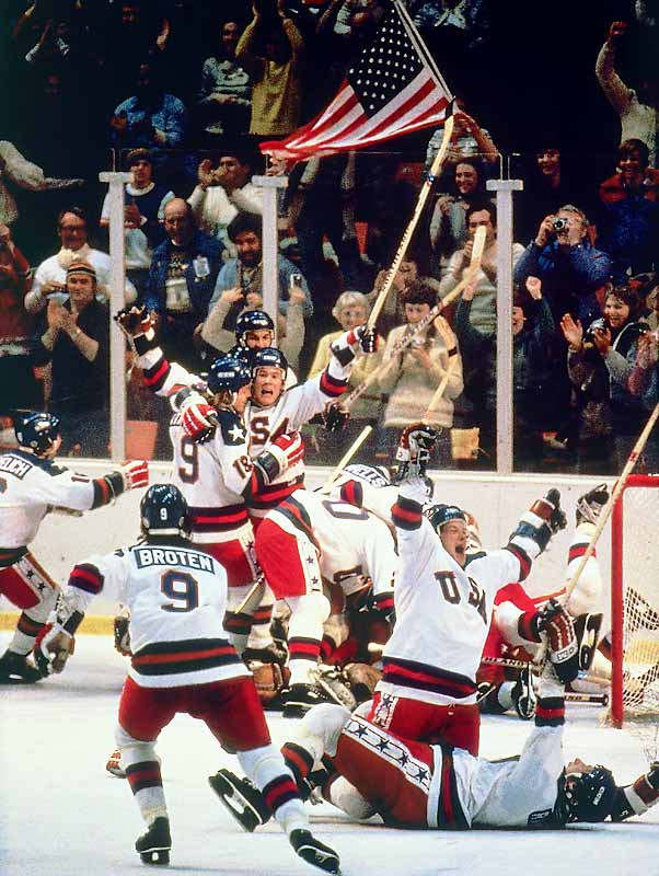 In the Miracle on Ice, a scrappy bunch of U.S. amateur and collegiate players knocked off the favored Soviets  4-3 in Lake Placid, N.Y.