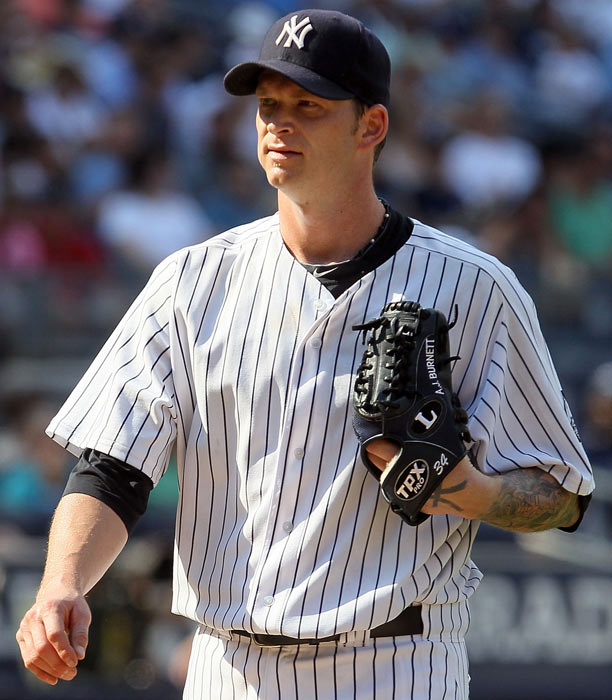 Burnett, who had been struggling for the Yankees, took out his aggression on a pair of swinging doors. After a particularly rough half-inning, the hard-throwing righty went into the clubhouse and slammed his open hands into the doors, cutting them up badly in the process. He tried to come back into the game but was quickly pulled after hitting a batter and throwing a wild pitch.