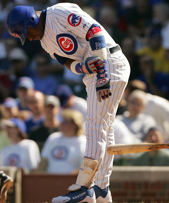 No wonder the wind blows out at Wrigley. This slugging outfielder missed a 2004 game with back spasms brought on by a hearty sneeze.