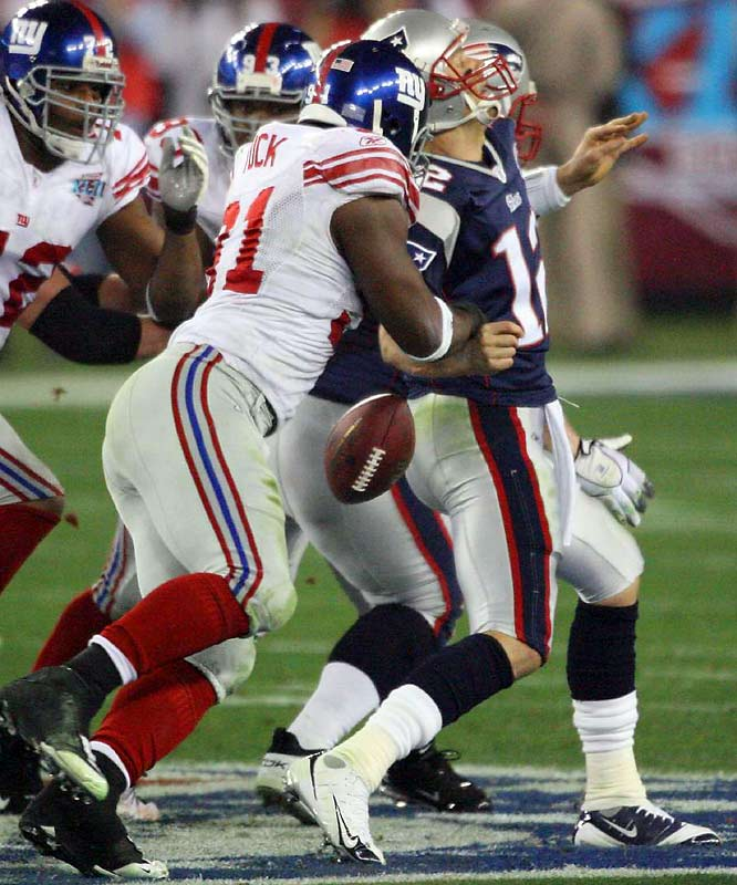 The Giants engineered the Upset of the Century thanks to a dominating performance on the line of scrimmage -- and no single player created more trouble for Tom Brady than Tuck, whose two first-half sacks set the tone for the black-and-blue contest. The third-year defensive end added six tackles and the forced fumble which prevented New England from attempting a field goal at the end of the first half.