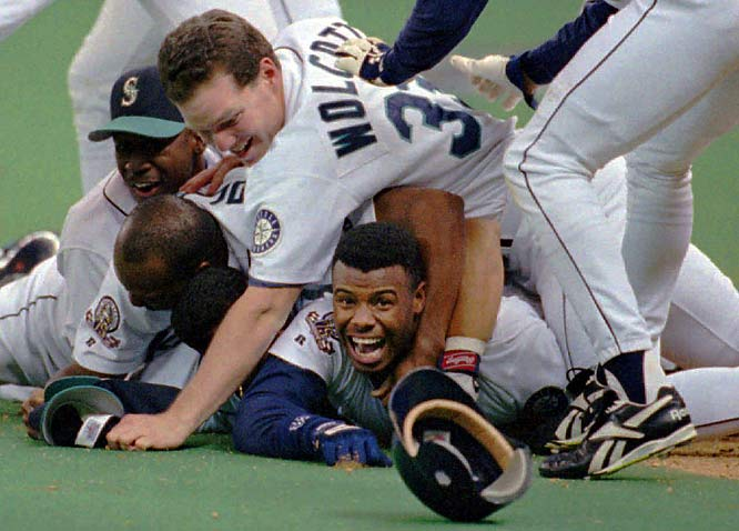 In 1995, the Mariners looked like they may be headed out of Seattle, until an electrifying playoff run, keyed by Griffey, helped land them approval for a new ballpark. In the division series against the Yankees, Griffey hit five home runs and scored the series-winning run in the 12th-inning of the do-or-die Game 5. He was mobbed by his delirious teammates.