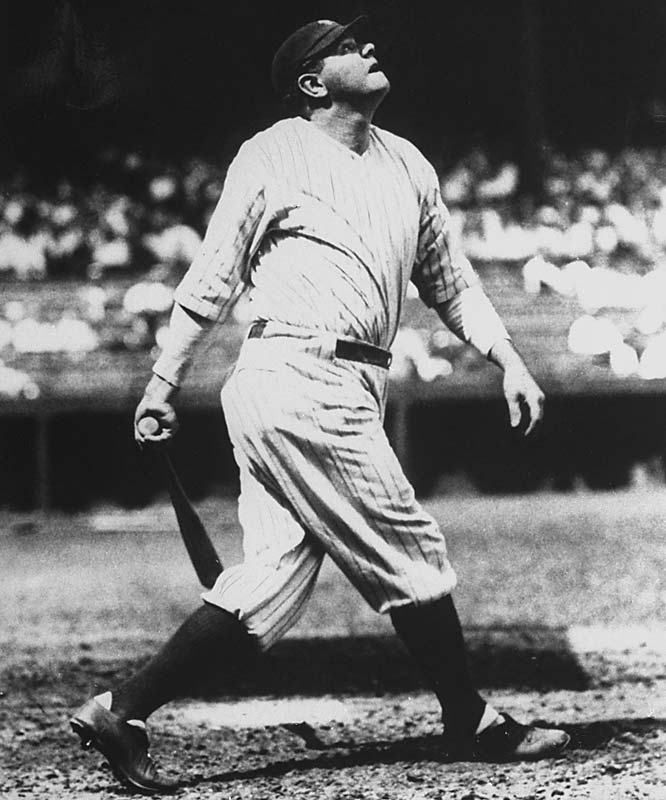 Ruth was the first man in major league history to hit 30, 40, 50 and 60 homers. The first member of the 500-HR Club, the Bambino also went on to become the charter member of the 600 Club on Aug. 21, 1931 at Sportsman's Park in St. Louis. Ruth took right-hander George Blaeholder deep in the third inning, a two-run shot that bounced off a parked car on Grand Avenue beyond the right-field wall. Ruth's ball was retrieved and exchanged for an autographed replacement plus cash.