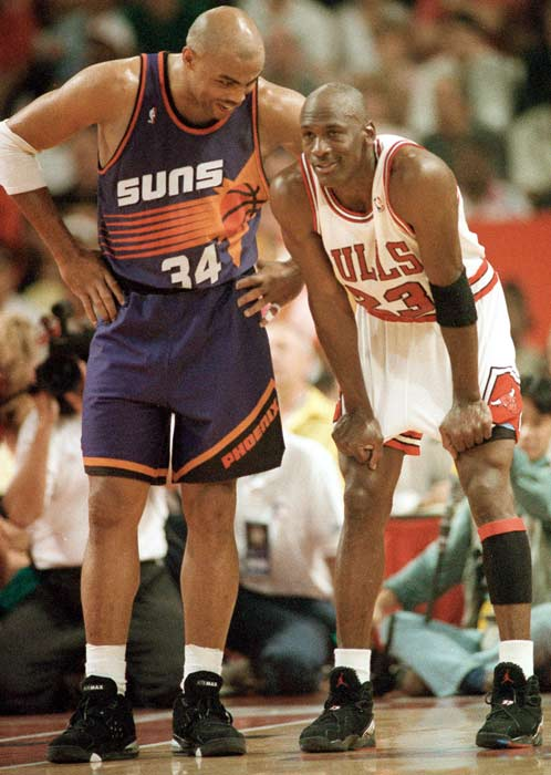 Michael Jordan of the Chicago Bulls and Charles Barkley of the Phoenix Suns each scored 42 points in Chicago's 111-108 victory, marking the first time in NBA Finals history that opposing players each scored 40 or more points in a Finals game.