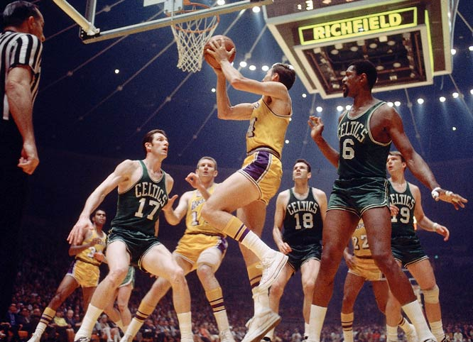 A year after their eight-year title streak had been snapped, the Celtics were back on top with Bill Russell as player/coach. John Havlicek scored 40 points in the Game 6 clincher as the Celtics denied Jerry West and Elgin Baylor again.