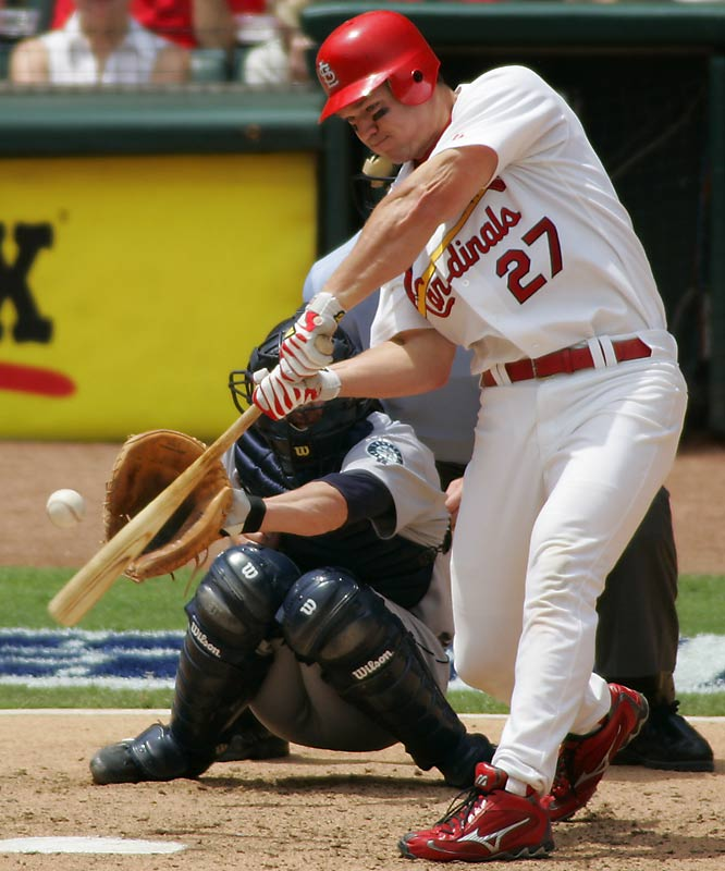 Rolen replaced Placido Polanco (who went to Philly along with Bud Smith and Mike Timlin) at the hot corner and cemented the big three (Jim Edmonds, Albert Pujols and Rolen) in the middle of the St. Louis lineup. In 2004 all three players made strong cases for league MVP honors as the Cardinals won the NL pennant.