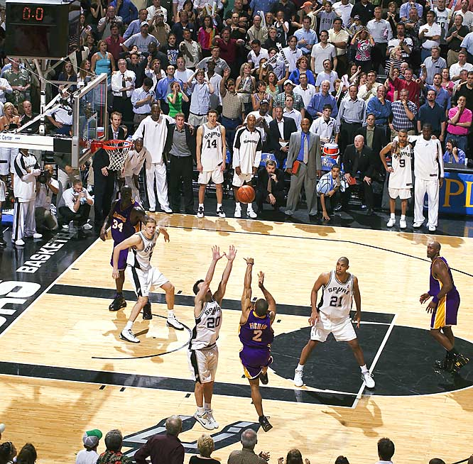 It might have been the most amazing shot in NBA playoff history. With the Lakers down two with 0.4 seconds left in Game 5 of the '04 Western Conference playoff series, Derek Fisher took an inbounds pass and threw up a 19-foot prayer to stun the Spurs and give L.A. a 3-2 series lead. Buoyed by Fisher's miracle, the Lakers would go on win the series and reach the Finals for the fourth time in five seasons.
