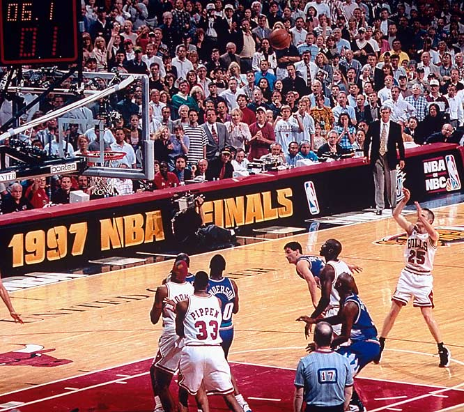 With the score tied 86-all in the final seconds of Game 6 of the '97 Finals, the Bulls called timeout to set up a final play. In the huddle Jordan told Steve Kerr to be ready. Jordan then took the inbounds pass, drew a double team from John Stockton, and pitched the ball back to Kerr at the top of the key. Kerr-plunk!  Chicago had its fifth NBA title in seven seasons.