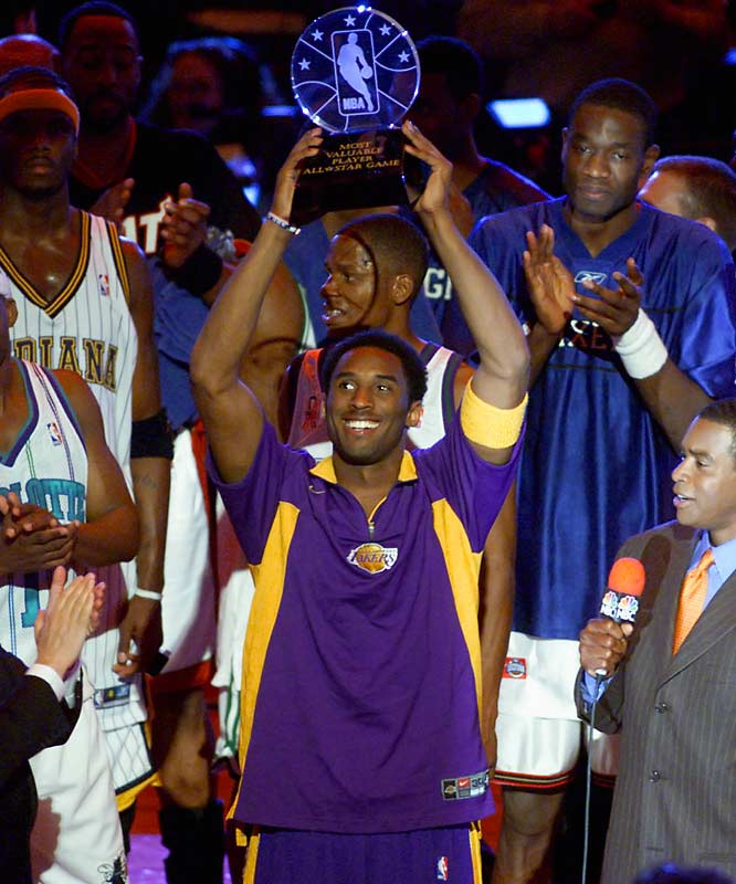 """Eight months after he helped the Lakers beat the 76ers in the Finals, Bryant absorbed the wrath of Philadelphia fans at the 2002 All-Star Game. Bryant was booed from pregame introductions through the postgame ceremony in which he was handed the game MVP award. """"I don't know what to say,"""" Bryant said after scoring a game-high 31 points in the city where he played in high school. """"It was something that I can't really describe the feelings that I have when it happened. I'm happy to win MVP in Philadelphia. The booing was just hurtful. But it's not going to ruin this day for me."""""""