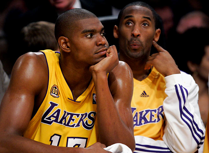 """After back-to-back first-round exits in '06 and '07, and after the Lakers refused to part with young center Andrew Bynum in a trade for Jason Kidd at the '07 deadline, Bryant took his displeasure public. Over the course of a month, Bryant appeared in a profanity-laced amateur video ridiculing GM Mitch Kupchak and Bynum before describing the team's front office as """"a mess"""" and confirming his request to be traded."""