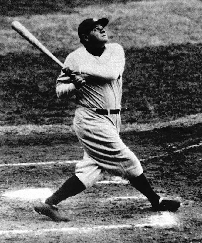Up at bat in the fith inning, Ruth pointed his bat toward center field.Result: On the next pitch Ruth hit a home run, helping the Yankees to a 7-5 win over the Cubs and eventually a World Series sweep.