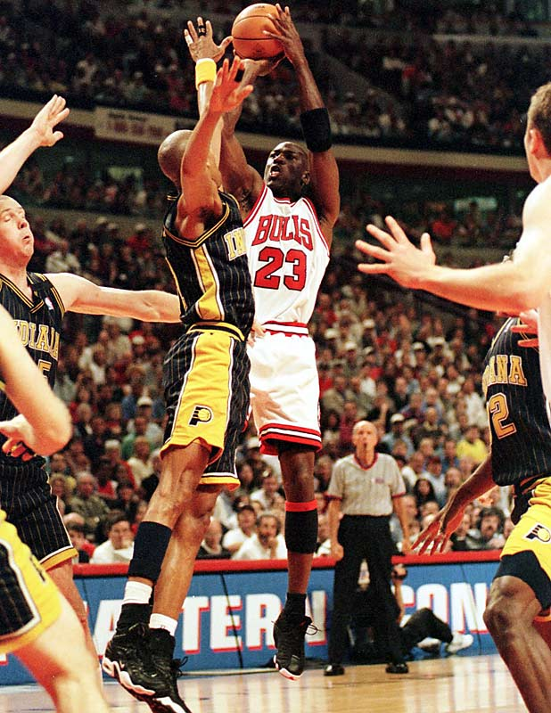 ''I don't care what happens today, don't care what happened in the other series... We will win Game 7.'' Results: Bulls won 88-83 against the Pacers and were on their way to a third straight NBA title. Jordan finished with 28 points.